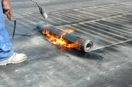 Tar torchdown roofing picture
