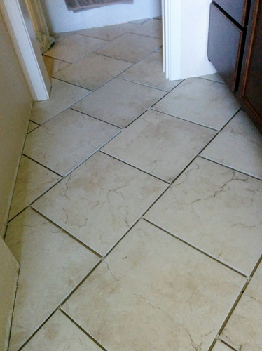 Tile laying in progress