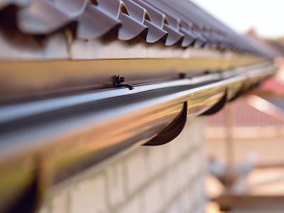 Gutters on a sunny house