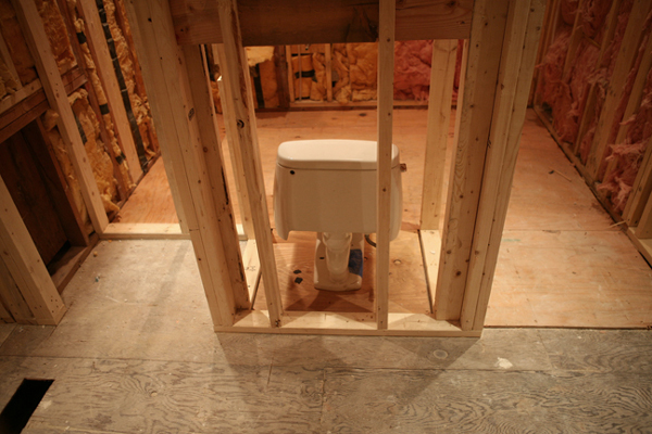 framed out bathroom