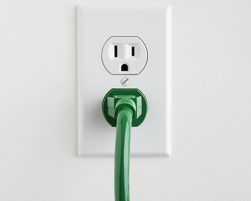 Electrical outlet with green power cable
