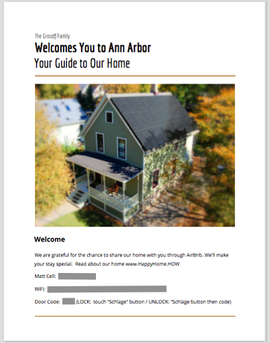 AirBnB guest guide