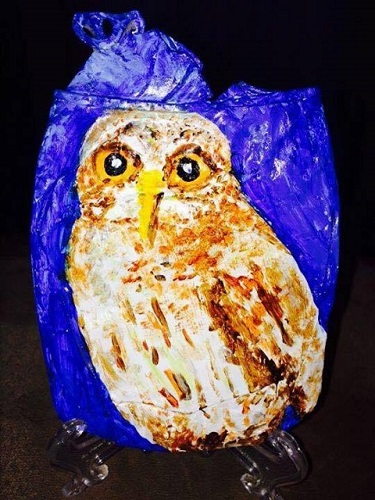 Crushed can art owl
