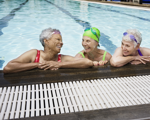 Three senior women in a pool