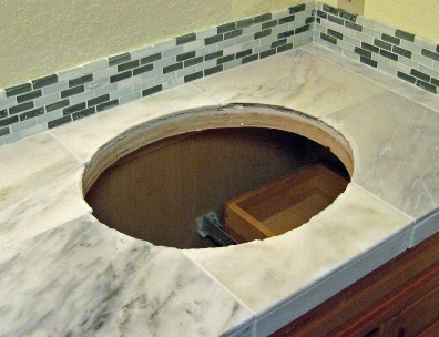 Full Bathroom Remodel Part Tile Counter With Sink - Custom cut ceramic tile