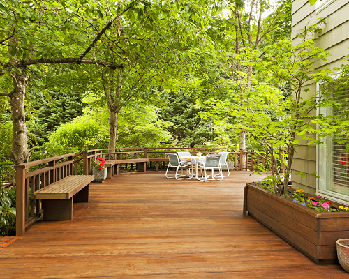 Shaded deck with benches
