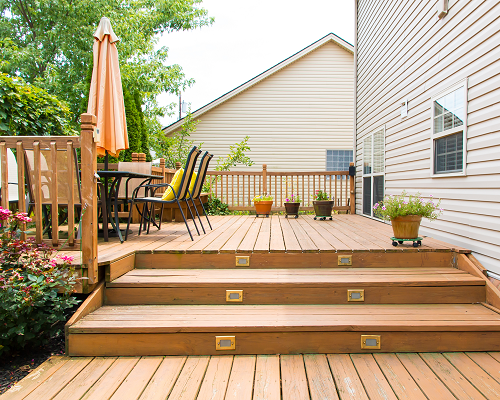 Wood deck with umbrellas and seating