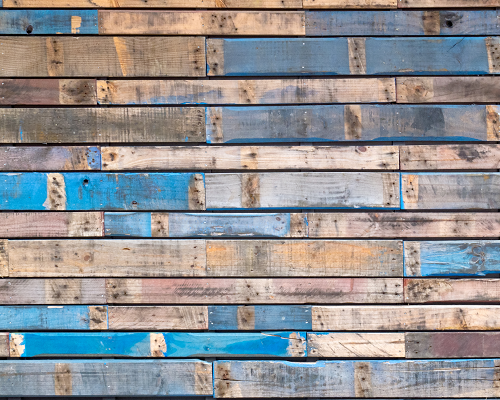 Recycled wood siding with blue paint
