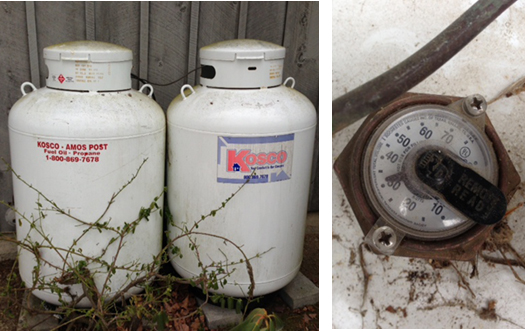 propane tanks and gage