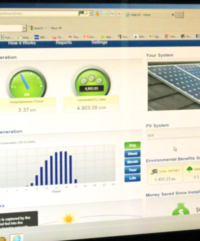Monitor solar power system