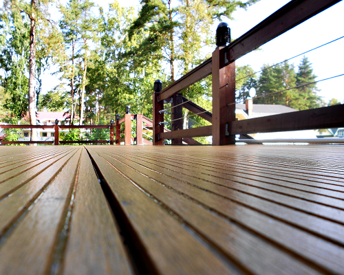 Floorboards and railings on a home deck
