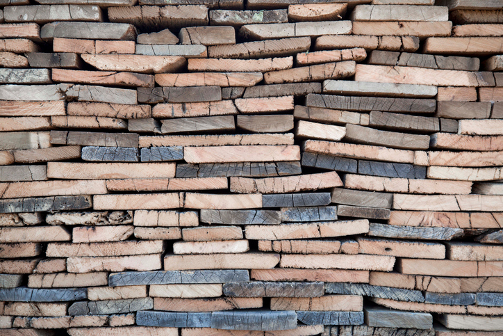 stack of reclaimed timber