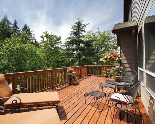 Deck in sunshine with lounge chairs