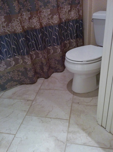 Toilet, porcelain tile, and a tub