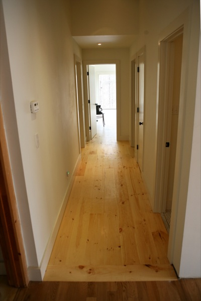 slat of wood flooring for transition