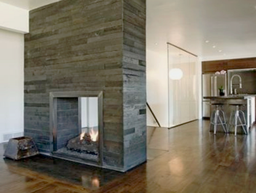 fireplace made with charred wood
