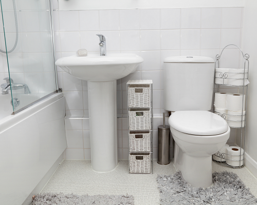 White bathroom with white tile