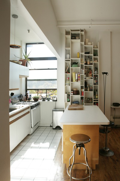 kitchen with white shelves