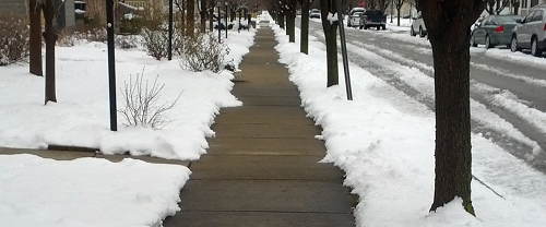 snow cleared sidewalk