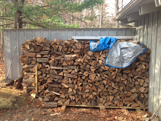 piling firewood