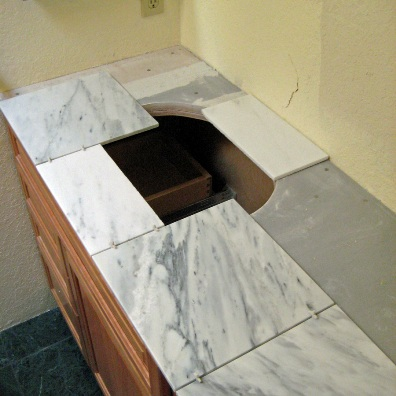 Full Bathroom Remodel Part Tile Counter With Sink - Pictures of tiled bathroom vanity tops