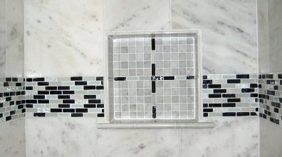 completed tiled shower shelf